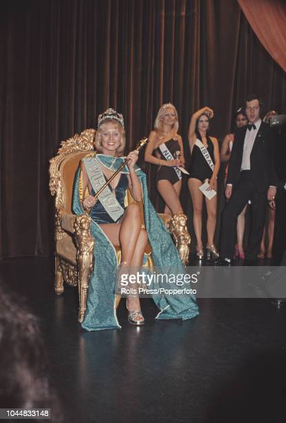 Winner of Miss World 1972 beauty pageant, Belinda Green of Australia wears her crown and sits on the winnner's throne at the Royal Albert Hall in...