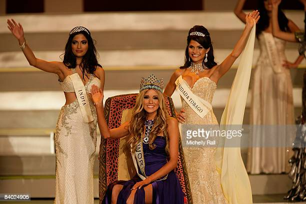 Winner of Miss World Ksenyia Sukhinova of Russia flanked by Miss India Parvathy Omanakuttan and Miss Trinidad Tobago Gabrielle Walcott on stage at...