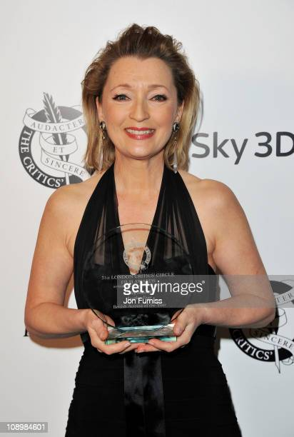 Winner of Moet British Actress of the Year Lesley Manville poses in the press room during The 31st London Film Critics' Circle Awards at BFI...