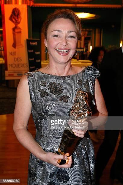 Winner of Moliere de la Comedienne dans un spectacle de Theatre prive for Fleur de Cactus actress Catherine Frot attends La 28eme Nuit des Molieres...