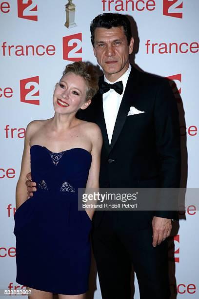 Winner of Moliere de la Revelation feminine for Le poisson Belge actress Geraldine Martineau and Singer Marc Lavoine attends La 28eme Nuit des...