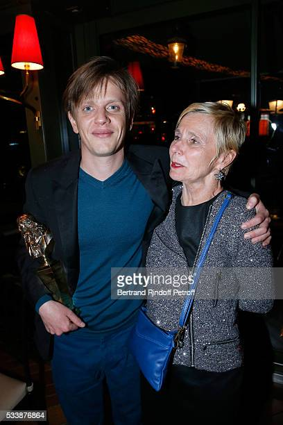Winner of Moliere de lhumour for his Show Alex Lutz and his mother Francine Hummel attend the dinner following La 28eme Nuit des Molieres Held at La...