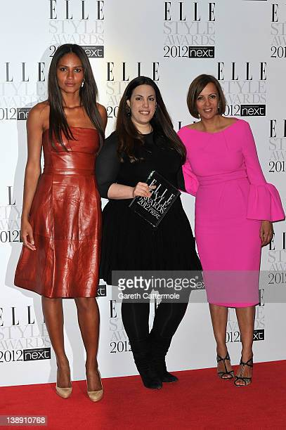Winner of Next Young Designer of the Year Mary Katrantzou poses with Emanuela de Paula and AnneMarie Curtis in the press room during The Elle Style...