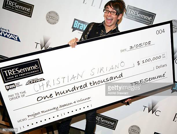 Winner of Project Runway season 4 designer Christian Siriano pose for photos at the TRESemme Project Runway Finale Party held inside the Tribeca...