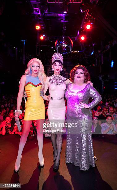 Winner of RuPaul's Drag Race Season 7 Violet Chachki with Pearl and Ginger Minj at Stage48 on June 1 2015 in New York City