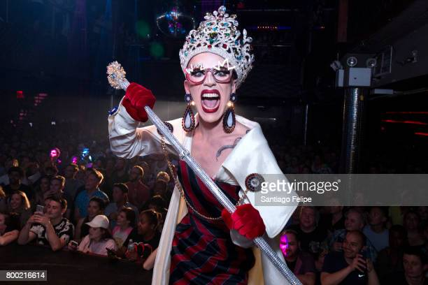 Winner of Rupaul's Drag Race Season 9 Sasha Velour gets crowned during the finale viewing party at Stage 48 on June 23 2017 in New York City
