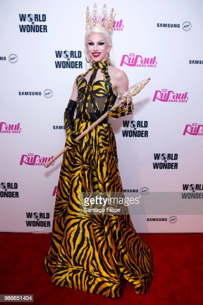 Winner of RuPaul's Dragrace season 10 Aquaria poses for photos after the finale viewing party at Samsung 837 on June 28 2018 in New York City