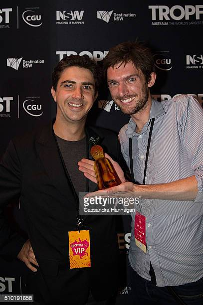 Winner of second place for their film Postcards to Ulay at Tropfest nick Baker and Tristan Klein at Centennial Park on February 14 2016 in Sydney...