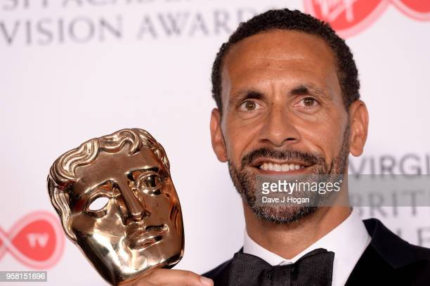 Winner of Single Documentary for 'Rio Ferdinand Being Mum and Dad' Rio Ferdinand poses in the press room at the Virgin TV British Academy Television...