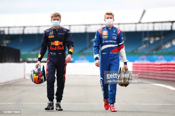 Winner of sprint race two and the feature race, Juri Vips of Estonia and Hitech Grand Prix and winner of sprint race one, Robert Shwartzman of Russia...