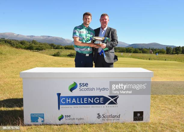 Winner of SSE the Scottish Hydro Challenge David Law of Scotland poses with the SSE Scottish Hydro Challenge Trophy and Keith Pickard Director of...