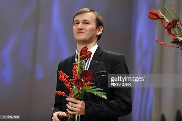 Winner of the 10th International Jean Sibelius Violin Competition RussianBelgian violinist Nikita BorisoGlebsky smiles after his victory in Finlandia...