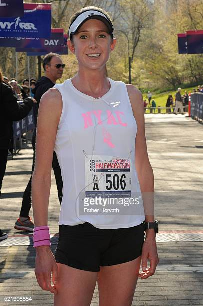 Winner of the 13th Annual MORE/SHAPE Women's HalfMarathon Caroline LeFrak poses for a photo at the finsh line Central Park on April 17 2016 in New...