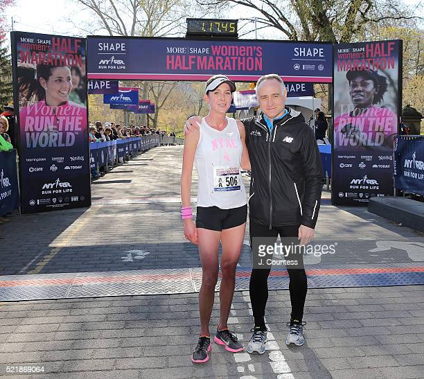Winner of the 13th Annual MORE/SHAPE Women's HalfMarathon Caroline LeFrak and President and CEO of New York Road Runners Michael Capiraso pose for a...