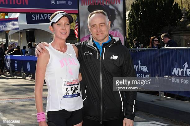 Winner of the 13th Annual MORE/SHAPE Women's HalfMarathon Caroline LeFrak and President and CEO of New York Road RunnersÊMichael CapirasoÊpose for a...