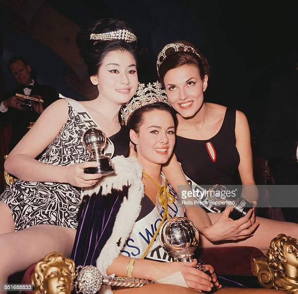 Winner of the 1964 Miss World competition Ann Sidney of the United Kingdom pictured centre with 1st runnerup Ana Maria Soria of Argentina and Linda...