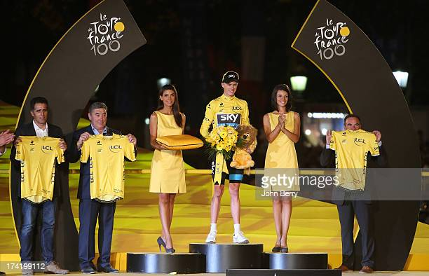 Winner of the 2013 Tour de France, Christopher Froome of Great Britain and Team Sky Procycling, here with former Tour winners Miguel Indurain, Eddy...
