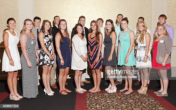 Winner of the 27th Annual AllSports Awards pose following the ceremony Sunday June 22 2014 in Portland Maine Front row left to right Grace O'Donnell...