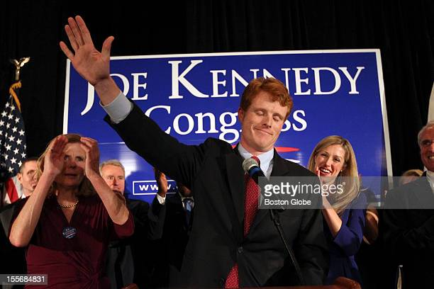 Winner of the 4th congressional district race Joseph Kennedy III at the podium during his rally at the Newton Marriott Mother Sheila Rauch at left...