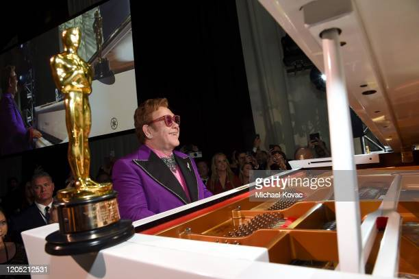 """Winner of the Academy Award for Best Original Song from """"Rocketman"""" Elton John performs onstage during the 28th Annual Elton John AIDS Foundation..."""