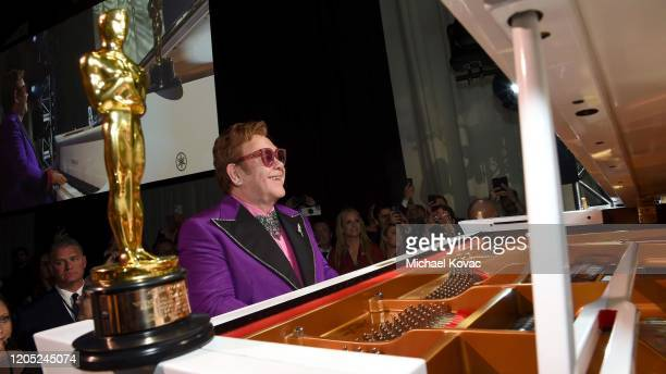 "Winner of the Academy Award for Best Original Song from ""Rocketman"" Elton John performs onstage during the 28th Annual Elton John AIDS Foundation..."