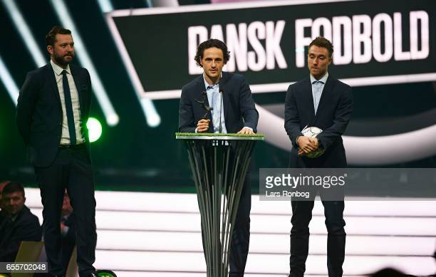 Winner of the Alka Superliga Player of the Year Award Thomas Delaney of Werder Bremen receives the trophy on stage during the Danish Football Award...
