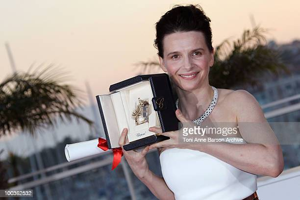 Winner of the award for Best Actress Juliette Binoche attends the Palme d'Or Award Ceremony Photo Call held at the Palais des Festivals during the...