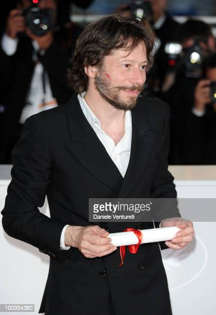 Winner of the award for Best Director Mathieu Almaric attends the Palme d'Or Award Ceremony Photo Call held at the Palais des Festivals during the...