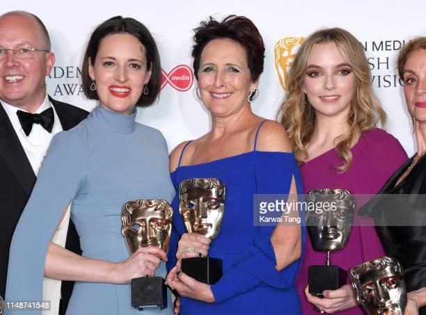 Winner of the award for Drama Series for 'Killing Eve' Phoebe WallerBridge winner of the Supporting Actress award for 'Killing Eve' Fiona Shaw and...