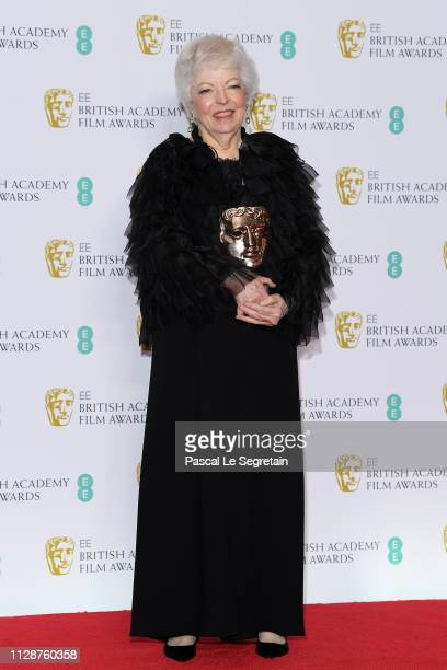 Winner of the BAFTA Fellowship award Thelma Schoonmaker poses in the press room during the EE British Academy Film Awards at Royal Albert Hall on...