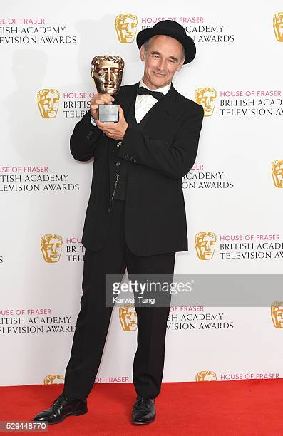 Winner of the Best Actor award Mark Rylance poses in the winners room at the House Of Fraser British Academy Television Awards 2016 at the Royal...