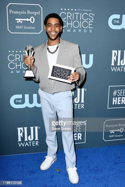 Winner of the Best Actor in a Movie/Limited Series award for 'When They See Us' Jharrel Jerome poses in the press room during the 25th Annual...