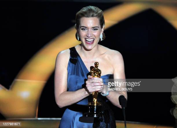 Winner of the Best Actress award Kate Winslet reacts at the 81st Academy Awards at the Kodak Theater in Hollywood, California on February 22, 2009....