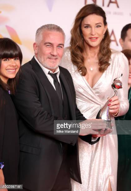 Winner of the Best Challenge Show Award, Paul Hollywood of The Great British Bake Off poses with Caitlyn Jenner in the winners room attends the...