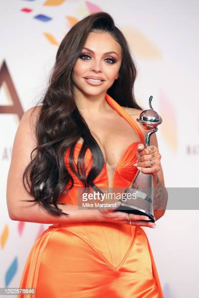 Winner of the Best Factual Entertainment Award Jesy Nelson poses in the winners room at the 2020 National Television Awards at The O2 Arena on...