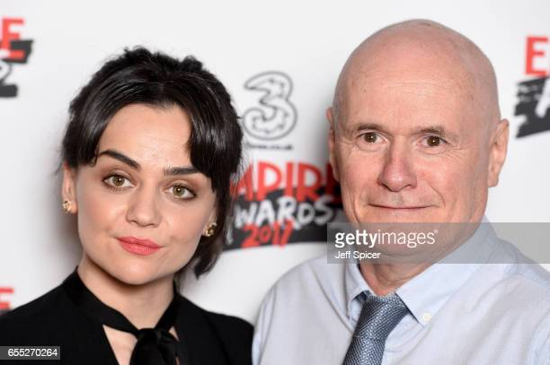 Winner of the Best Male Newcomer award actor Dave Johns poses with Hayley Squires in the winners room at the THREE Empire awards at The Roundhouse on...