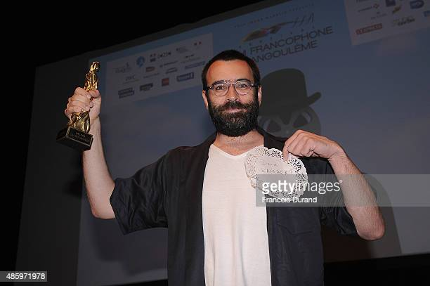 Winner of the best scenario David Lambert during the 8th Angouleme FrenchSpeaking Film Festival Closing Ceremony on August 30 2015 in Angouleme France