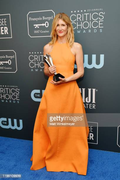 Winner of the Best Supporting Actress award for 'Marriage Story' Laura Dern poses in the press room during the 25th Annual Critics' Choice Awards at...