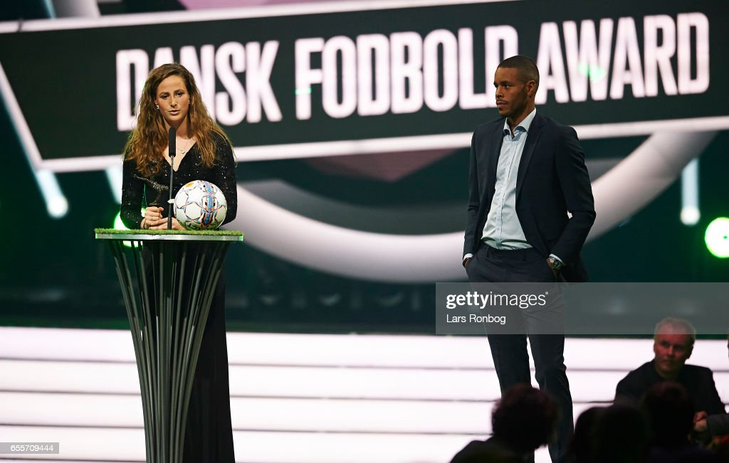 Winner of the Best Young Female Player of the Year Award Nicoline Sorensen of Brondby IF receives the trophy on stage during the Danish Football Award Show at Forum Horsens on March 20, 2017 in Horsens, Denmark.