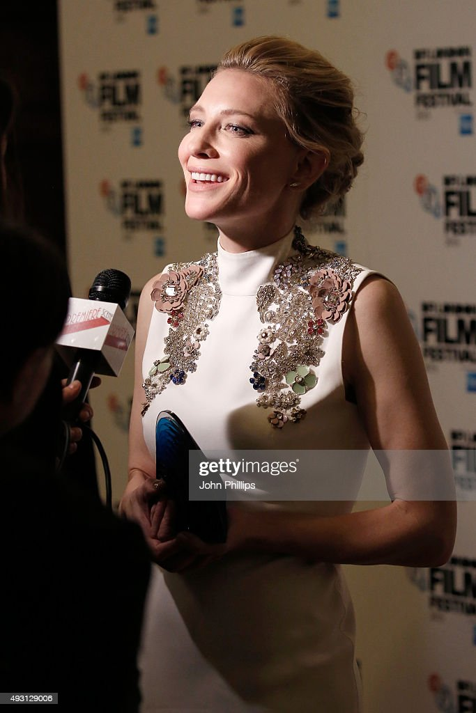Winner of the BFI Fellowship Award, Cate Blanchett talks to a reporter at the BFI London Film Festival Awards at Banqueting House on October 17, 2015 in London, England.