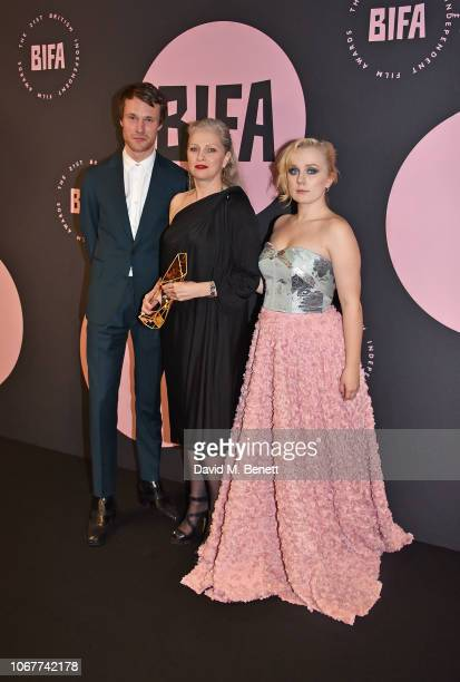 Winner of the Breakthrough Producer Award for 'Ray Liz' Jacqui Davies with presenters Hugh Skinner and Alexa Davies in the winners rooms at the 21st...