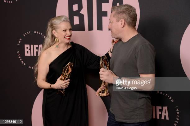 Winner of the Breakthrough Producer Award for 'Ray Liz' Jacqui Davies and winner of the Douglas Hickox Award for 'Ray Liz' Richard Billingham pose in...