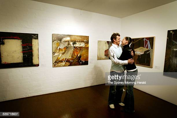 Winner of the Brett Whiteley Travelling Art Scholarship Wayde Owen with his wife and fellow artist Shayle Flesser on 29 September 2005 Second from...