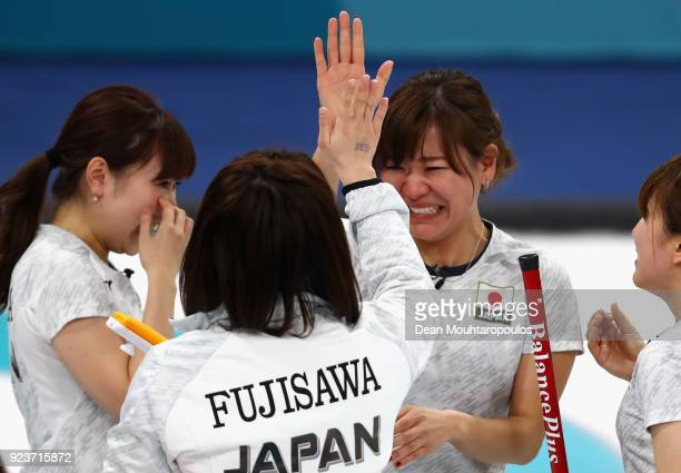 Winner of the bronze medal Satsuki Fujisawa Chinami Yoshida Yumi Suzuki and Yurika Yoshida of Japan celebrate following the Curling Womens' bronze...