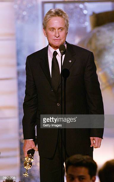 Winner of the Cecil B DeMille Award Michael Douglas on stage at the 61st Annual Golden Globe Awards on January 25 2004 at the Beverly Hilton Hotel in...