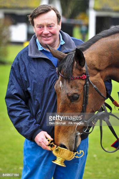 Winner of the Cheltenham Gold Cup 2013, Bobs Worth inspects his trophy, held by trainer Nicky Henderson during the homecoming parade at Nicky...