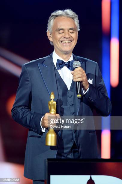 Winner of the Classic BRITs Icon award, Andrea Bocelli speaks on stage during the 2018 Classic BRIT Awards held at Royal Albert Hall on June 13, 2018...