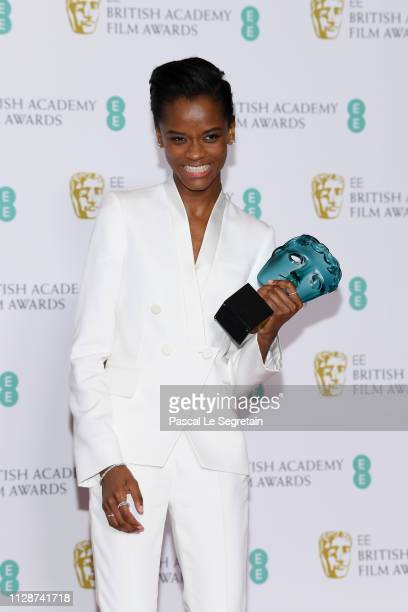 Winner of the EE Rising Star award Letitia Wright poses in the press room during the EE British Academy Film Awards at Royal Albert Hall on February...