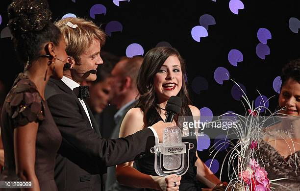 Winner of The Eurovision Song Contest 2010 Lena Meyer Landrut on stage with the trophy of the Eurovision Song Contest on May 29 2010 in Oslo Norway