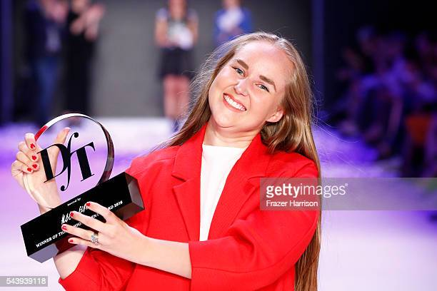 Winner of the fashion talent award 'Designer for Tomorrow' by Peek Cloppenburg and Fashion ID hosted by Alber Elbaz Edda Gimnes acknowledges the...